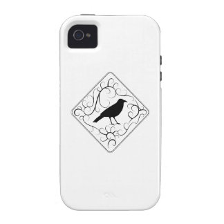 Crow and Swirls Pattern. Black and White. iPhone 4 Case