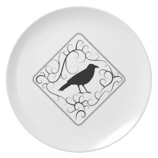 Crow and Swirls Pattern. Black and White. Melamine Plate