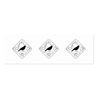 Crow and Swirls Pattern. Black and White. Mini Business Card