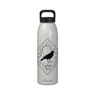Crow and Swirls Pattern. Black and White. Drinking Bottle