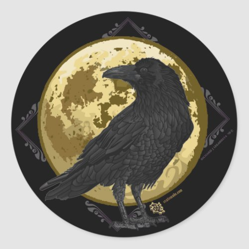 Crow and the Moon design 1 Classic Round Sticker