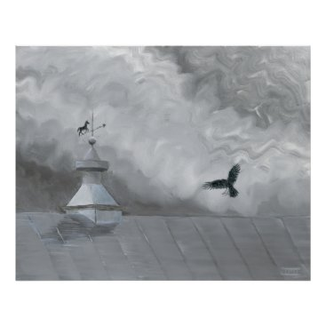 Art Themed Crow and Weather Vane Poster