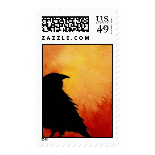 Crow at Sunset Postage Stamps
