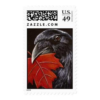 Crow & Autumn Leaf Postage Stamps