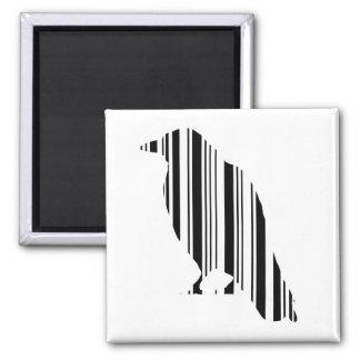 Crow Bar Code Bird Pattern Design 2 Inch Square Magnet