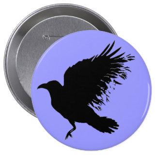 Crow - black 4 inch round button