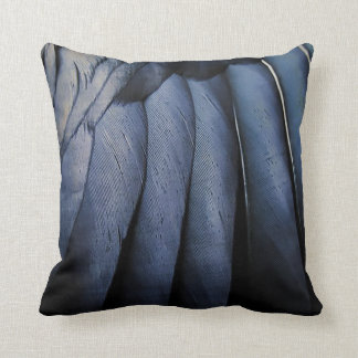Crow black feathers throw pillow