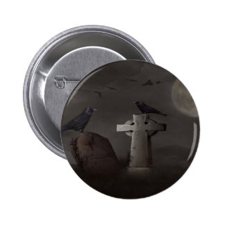 crow cemetary pinback button
