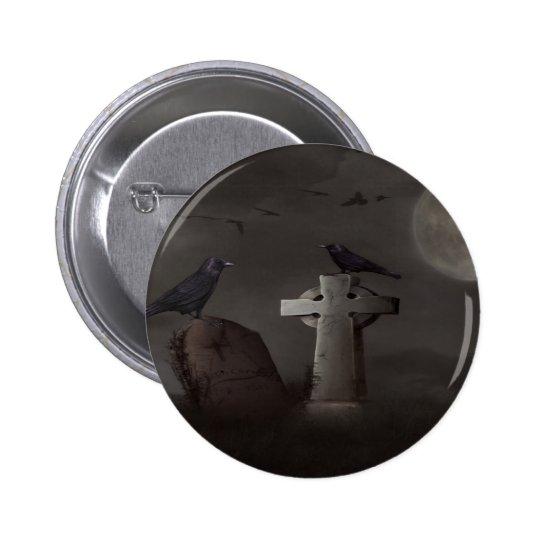 crow cemetary pinback button