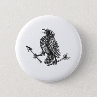 Crow Clutching Broken Arrow Tattoo Button