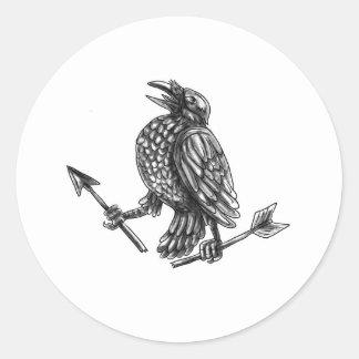 Crow Clutching Broken Arrow Tattoo Classic Round Sticker