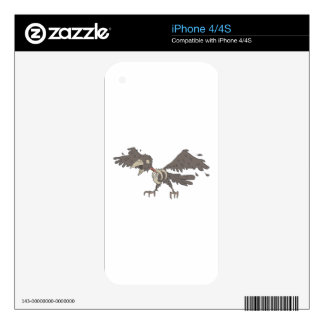 Crow Creepy Zombie With Rotting Flesh Outlined Decal For The iPhone 4S