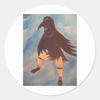 Crow Dancer Round Stickers