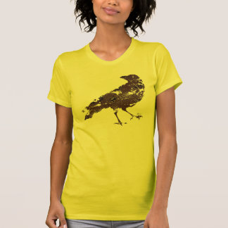 Crow Distressed in Brown on Yellow Shirt