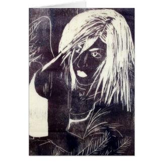 Crow Girl Gothic Fantasy Greeting Card