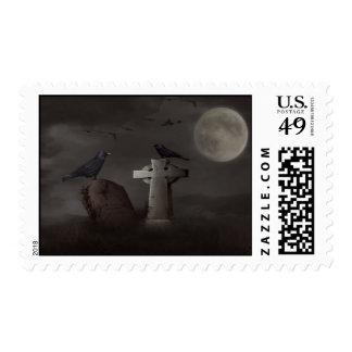crow graveyard postage stamp