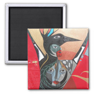 crow he crow she full painting 2 inch square magnet