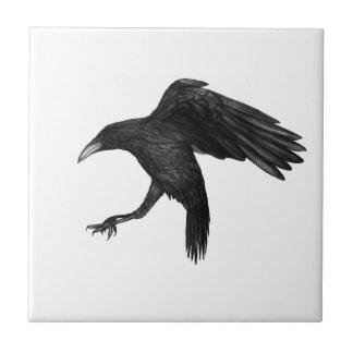 Crow Illustration Ceramic Tile