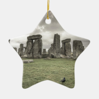 Crow in front of Stonehenge, England Ceramic Ornament