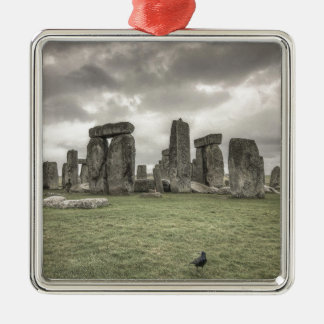 Crow in front of Stonehenge, England Metal Ornament