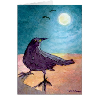 Crow in Moonlight Stationery Note Card