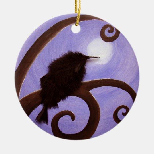 Crow in moonlight ceramic ornament