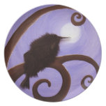 Crow in moonlight dinner plates