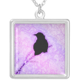 Crow in Purple Silver Plated Necklace
