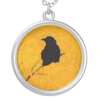 Crow in Silver & Gold Silver Plated Necklace