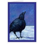Crow In Snow: Art: Winter: Purple, Black, White Greeting Card