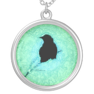 Crow in Turquiose Silver Plated Necklace