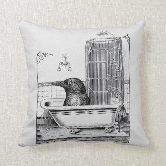 Crow In Vintage Bathtub Throw Pillow