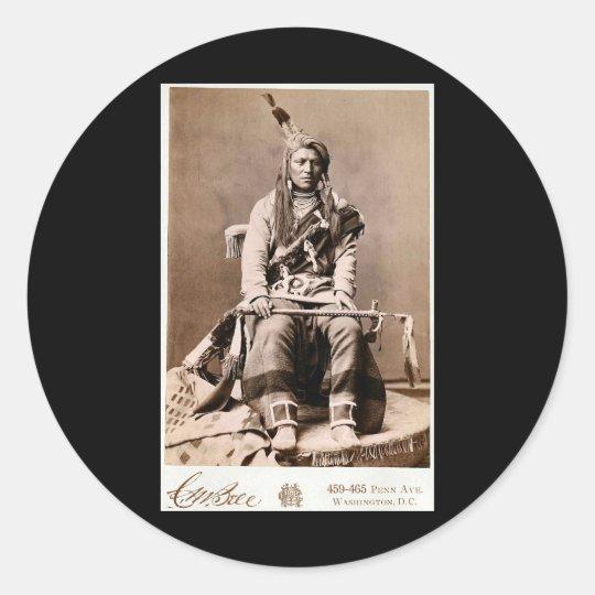 Crow Indian 1880 Classic Round Sticker