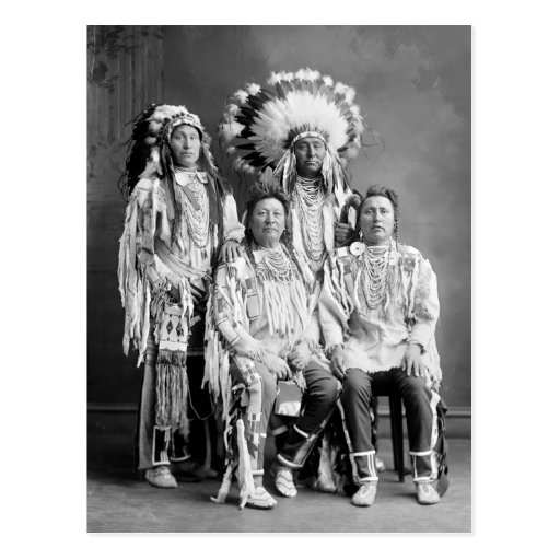 Crow Indian Group Portrait, early 1900s Postcard