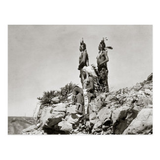 Crow Indians On Cliff, 1905 Postcard