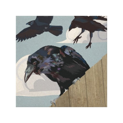 Crow invasion stretched canvas print