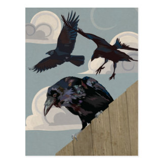 Crow invasion postcard