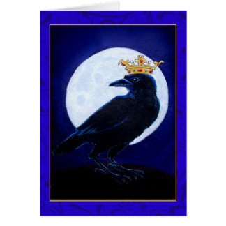 Crow King or Queen with Moon, Crown greeting card