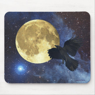 Crow, Moon & Outer Space Mousemat Mouse Pad