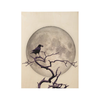 Crow Moon Raven Fantasy Gothic Night Wood Poster