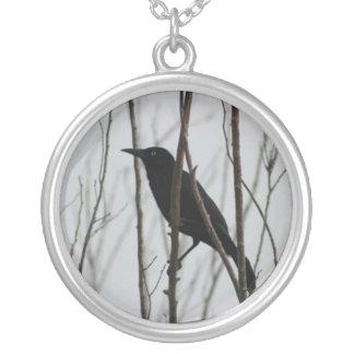 Crow - Nevermore Round Pendant Necklace
