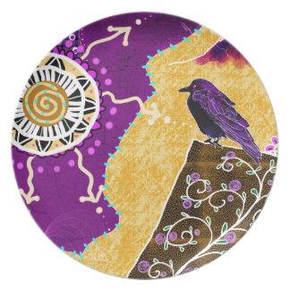 Crow on a book melamine plate