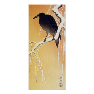 Crow on a Branch by Ohara Koson Vintage Poster