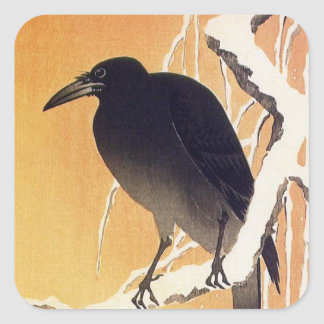 Crow on a Branch by Ohara Koson Vintage Square Sticker
