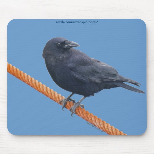CROW ON A CABLE Mousepad