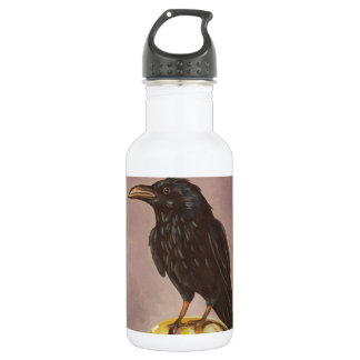 Crow On A Marble 18oz Water Bottle