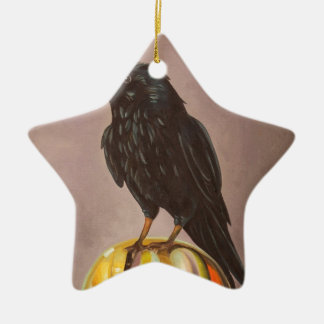 Crow On A Marble Ceramic Ornament