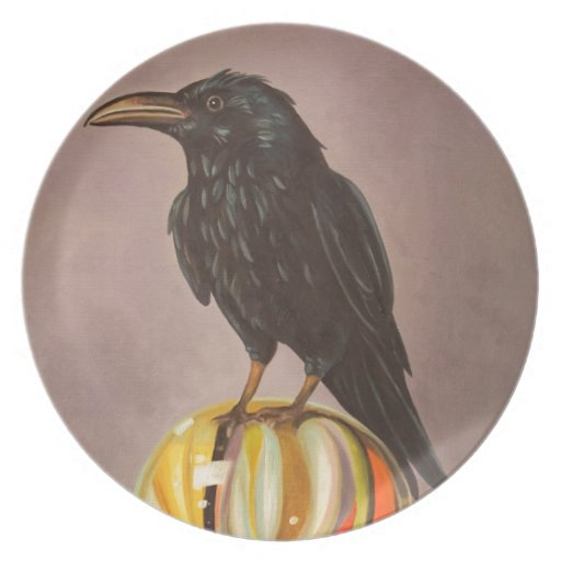 Crow On A Marble Dinner Plates
