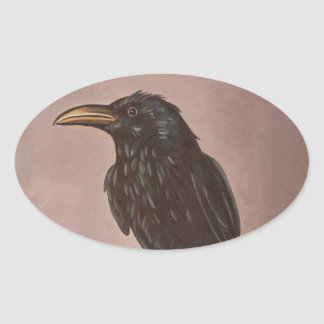 Crow On A Marble Oval Sticker