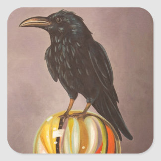 Crow On A Marble Square Sticker
